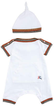 Burberry Abia Striped-Trim Shortall w/ Hat, Size 1-18 Months