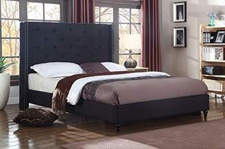 "Home Life Premiere Classics Cloth Black Linen 51"" Tall Headboard Platform Bed with Slats Full - Complete Bed 5 Year Warranty Included 007"
