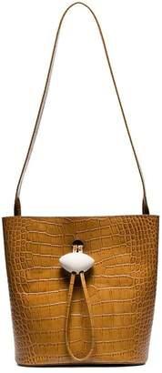 Rejina Pyo brown Naomi croc-embossed leather shoulder bag