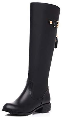 Nine Seven Genuine Leather Women's Round Toe Chunky Heel Wide Calf Handmade Knee High Boot (7, )