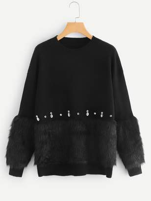 Shein Rhinestone and Faux Fur Embellished Sweater