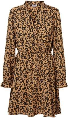 Vero Moda Leopard-Print Long-Sleeve Wrap Dress