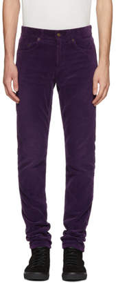Saint Laurent Purple Skinny Cord Trousers