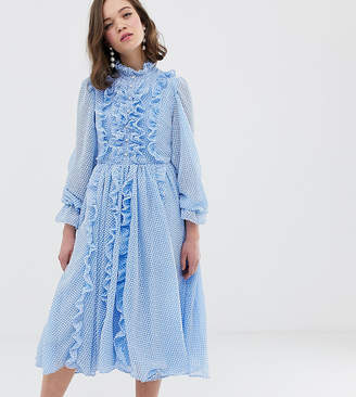 Sister Jane button through midi dress with ruffle detail in gingham seersucker