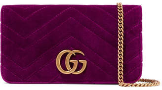 Gucci Gg Marmont Micro Quilted Velvet And Textured-leather Shoulder Bag - Magenta