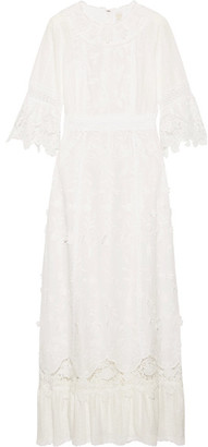 Anna Sui - Daisy Fields Appliquéd Silk-blend And Broderie Anglaise Cotton Maxi Dress - White