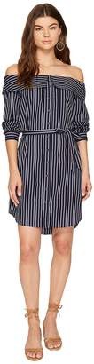 Kensie Oxford Stripe Off Shoulder Shirting Dress KS8K9673 Women's Dress