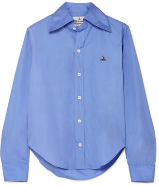 Vivienne Westwood Embroidered Cotton-poplin Shirt - Blue