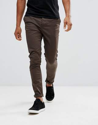 Asos Design Skinny Chinos In Brown