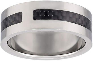 FINE JEWELRY Mens Titanium Band Ring with Carbon Fiber Inlay