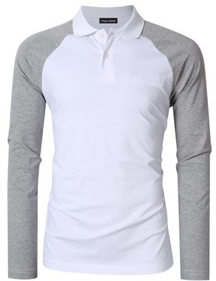 Glowsol Yong Horse Men's Two Tone Color Blocked Modern Fit Long Sleeve Polo Shirt White with gray sleeves XL