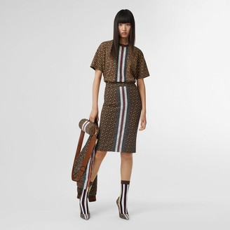 Burberry Monogram Stripe Print Stretch Jersey Pencil Skirt