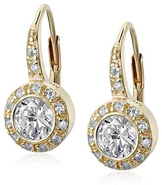 Sterling Silver Gold-Tone Leverback Round Shaped Cubic-Zirconia Dangle Earrings