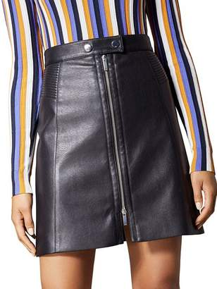 Karen Millen Faux Leather Zip-Front Mini Skirt
