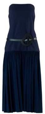 Tibi Women's Punto Milano Strapless Drop Waist Dress - Navy - Size 00