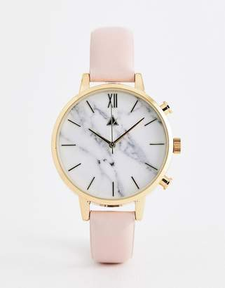 Asos DESIGN leather watch with marble face in pink