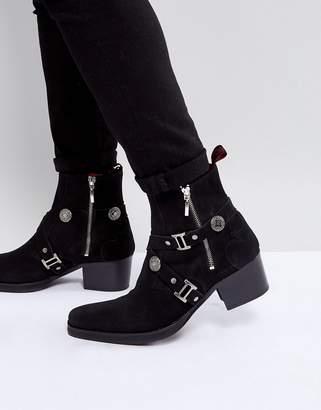 Jeffery West Manero Buckle Boots In Black Suede