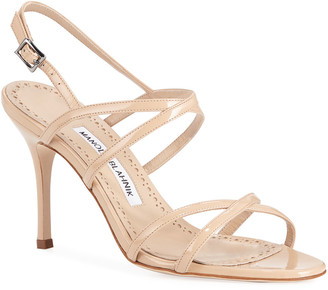 Manolo Blahnik Amazia Strappy Patent Mid-Heel Sandals