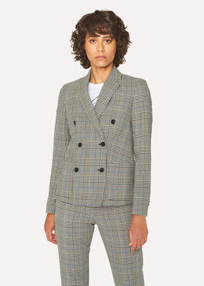 Paul Smith Women's Black And White Check Cotton Double-Breasted Blazer