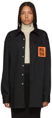 Raf Simons Black Denim Logo Patch Shirt