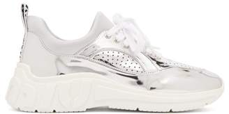 Miu Miu Perforated Low Top Trainers - Womens - Silver