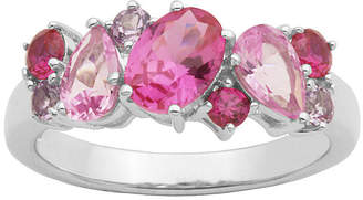 JCPenney FINE JEWELRY Simulated Amethyst, Pink Sapphire and Ruby Sterling Silver Cluster Ring