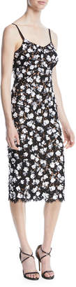 Michael Kors V-Neck Sleeveless Floral Lace Guipure Rose-Embroidered Slip Midi Dress