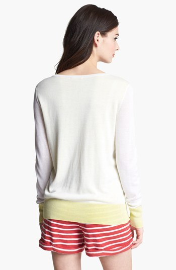 Caslon Double Layer Sweater White/ Lime Sulphur X-Small