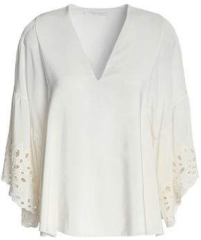 67515e9ffc7ab3 Chloé Broderie Anglaise-trimmed Silk Crepe De Chine Blouse