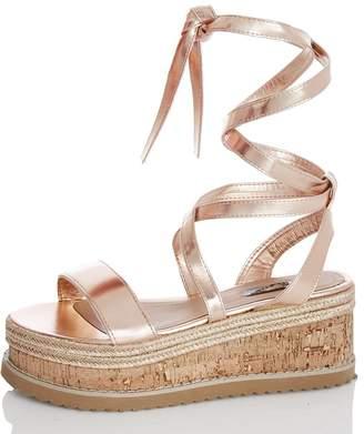 Quiz Rose Gold Flatform Sandals