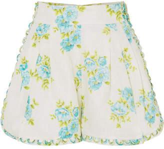 Zimmermann Whitewave Honeymooners Floral-print Linen Shorts - Ivory