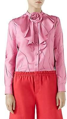 Gucci Women's Pleated Silk Shirt