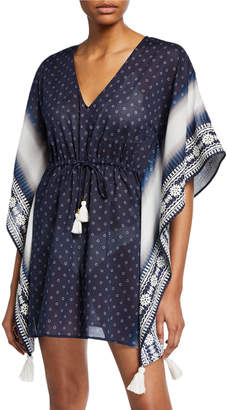 Tory Burch Ravena V-Neck Tie-Waist Cotton Caftan Coverup