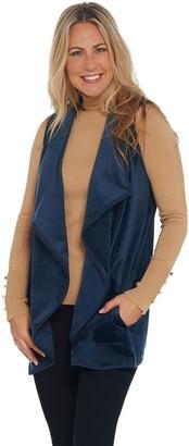 Isaac Mizrahi Live! SOHO Plushed Velour Cascade Open Front Vest