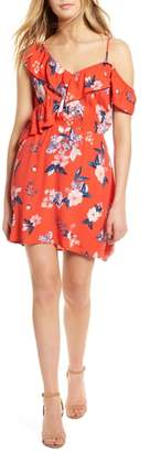 Cupcakes And Cashmere Cordetta Floral Asymmetrical Ruffle Dress