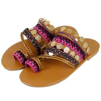 213f0488e Bohemia SaraIris Women s Summer Flat Sandals Slip On Gladiator Sandals Flip  Flops Rome PU Handmade Rhinestone