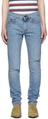 Saint Laurent Blue Skinny Trash Jeans