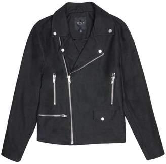 DSTLD Mens Cotton Moto Jacket in Black