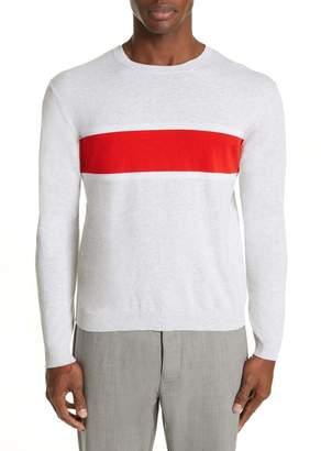 Eleventy Slim Fit Stripe Crewneck Cotton Sweater