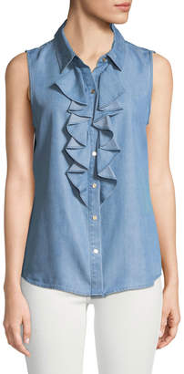 Karl Lagerfeld Paris Sleeveless Ruffle-Front Chambray Shirt
