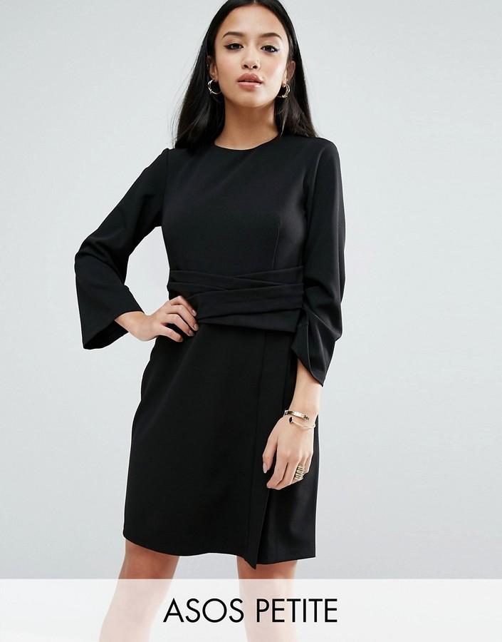 AsosASOS Petite ASOS PETITE Wrap Skirt Flute Sleeve Mini Dress