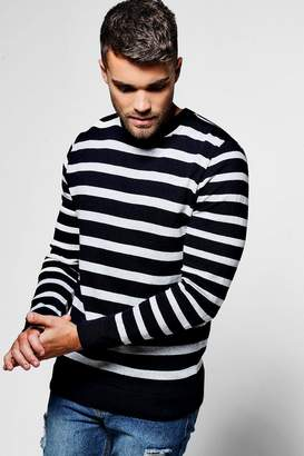 boohoo Navy Stripe Crew Neck Jumper