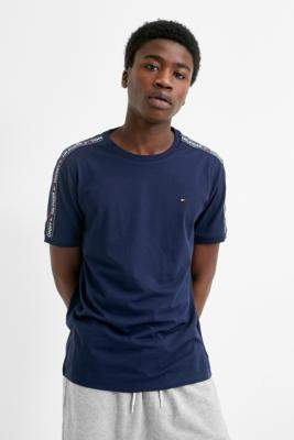 Tommy Hilfiger Taped Sleeve Navy T-Shirt - blue S at Urban Outfitters