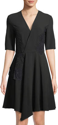 Natori Half-Sleeve Fit-&-Flare Asymmetric Dress
