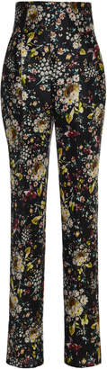 Monique Lhuillier Printed Mikado High Waist Skinny Trousers