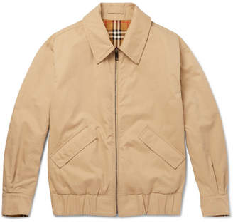 Burberry Reversible Checked Cotton-Gabardine Blouson Jacket - Camel