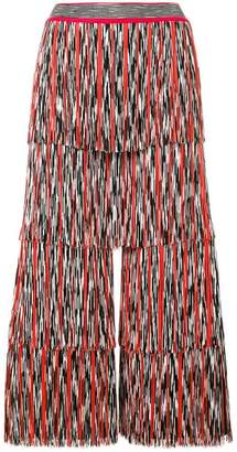 Missoni tiered plissé wide leg trousers