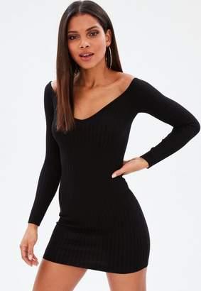 Missguided Black Ribbed Sweetheart Neckline Knit Mini Dress