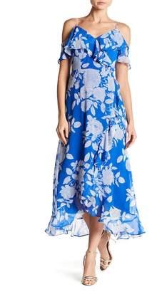 London Times Ruffled Cold Shoulder Maxi Dress