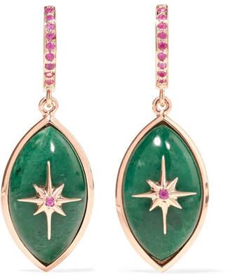 Marlo Laz - Mini Eye 14-karat Rose Gold, Sapphire And Malachite Earrings